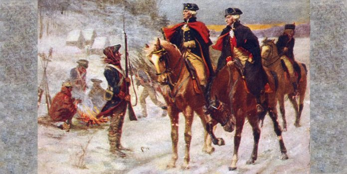 Painting of Washington and Lafayette at Valley Forge