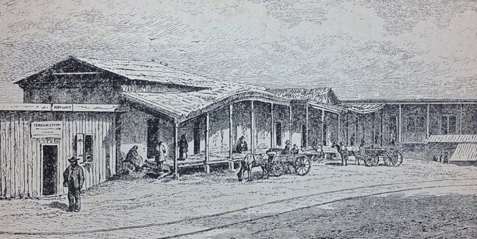 Illustration of Chinatown in Los Angeles, circa 1885.