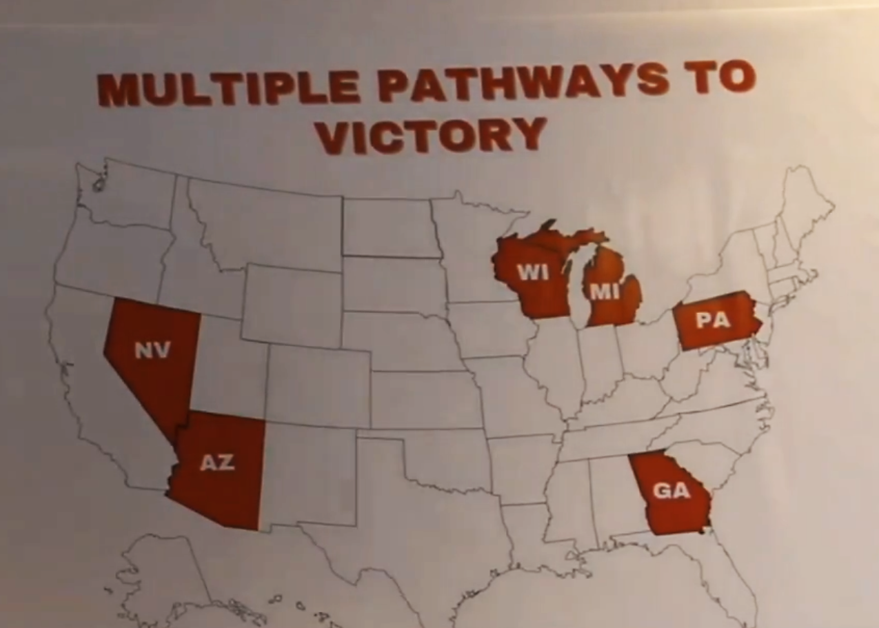 A map showing Trump campaigns multiple pathways to victory, with likely wins in Nevada, Arizona, Wisconsin, Michigan, Pennsylvania and Georgia