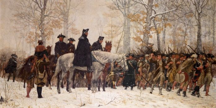 Painting of the march to Valley Forge