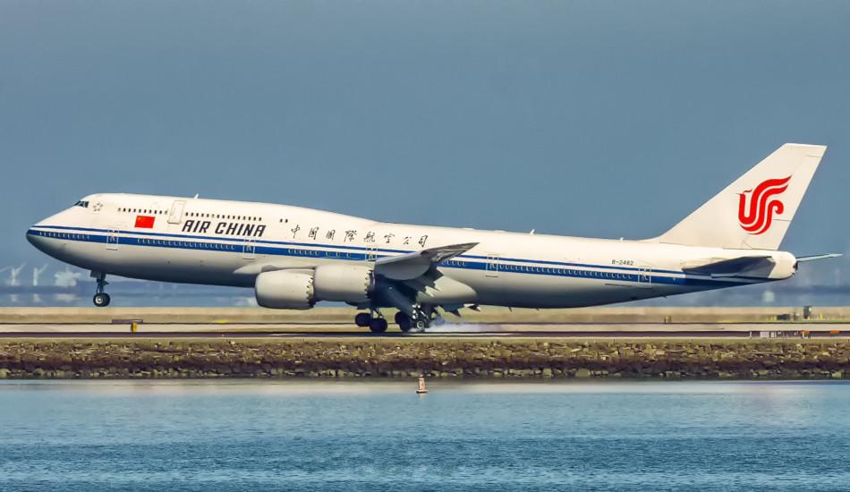 An Air China flight takes off.