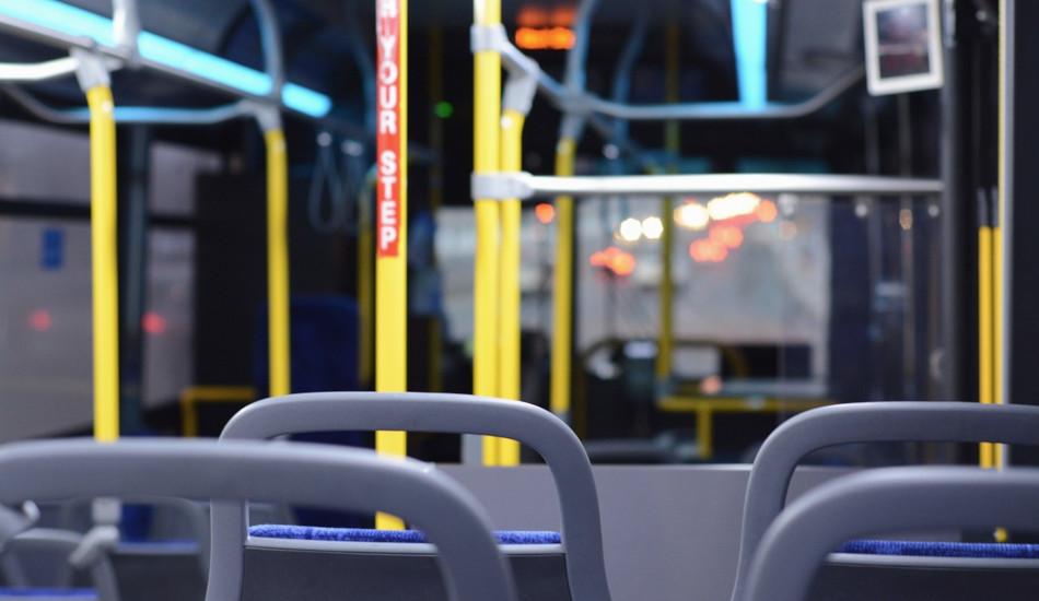 Inside an empty bus.