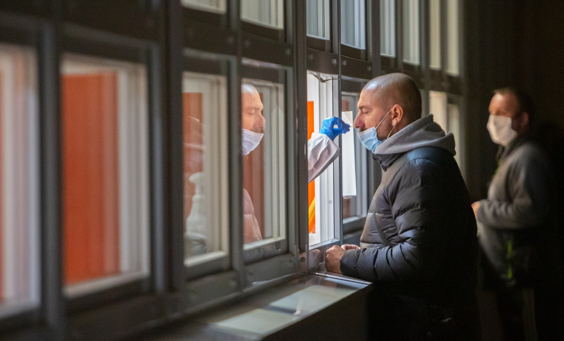Man being tested for coronavirus.