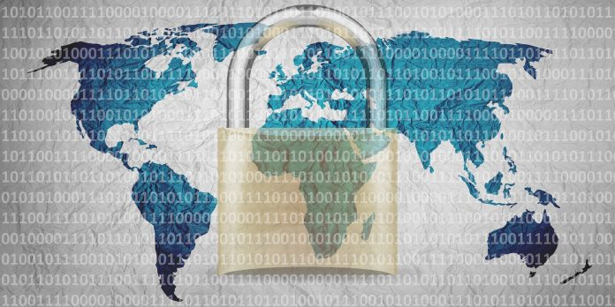 World map overlaid with one's and zero's and the image of a padlock.