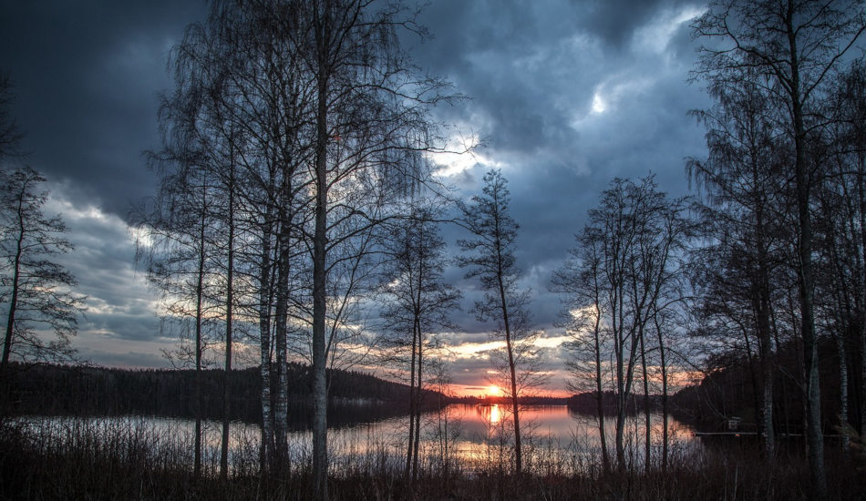A lakeside in Finland on a spring evening.