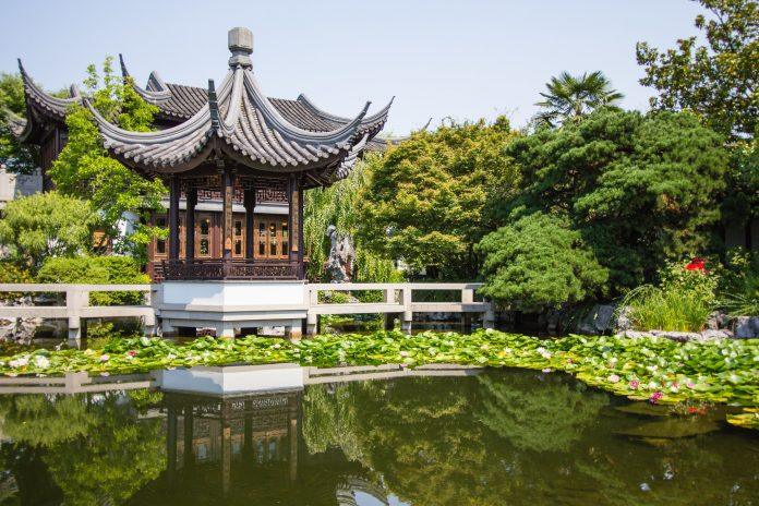 The Lan Su Chinese garden in Portland, Oregon, USA, a result of the sister city program with Suzhou, China.