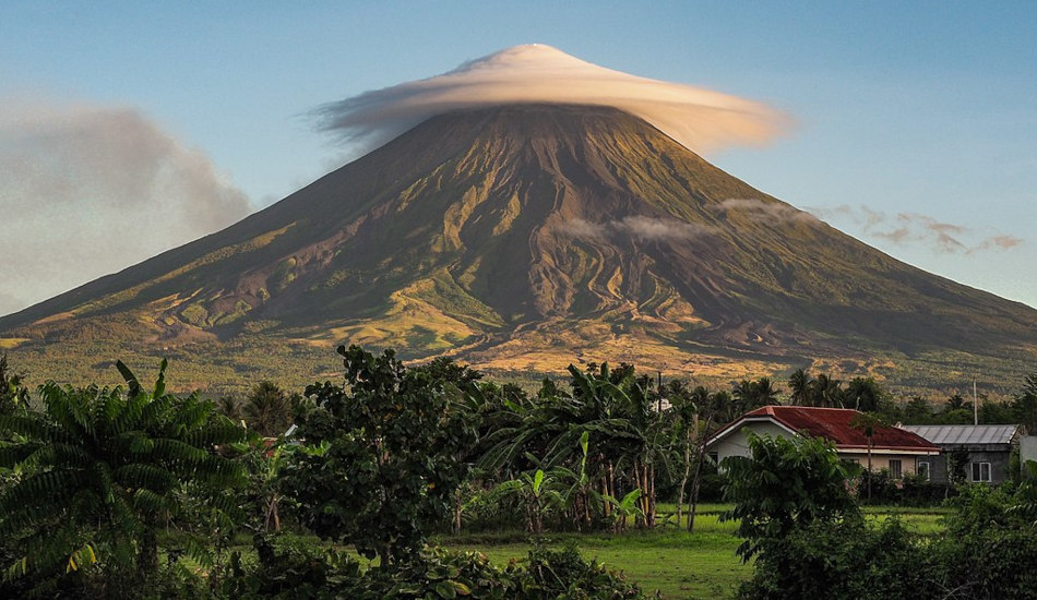A lenticular cloud covers Mayon Volcano in the Philippines.
