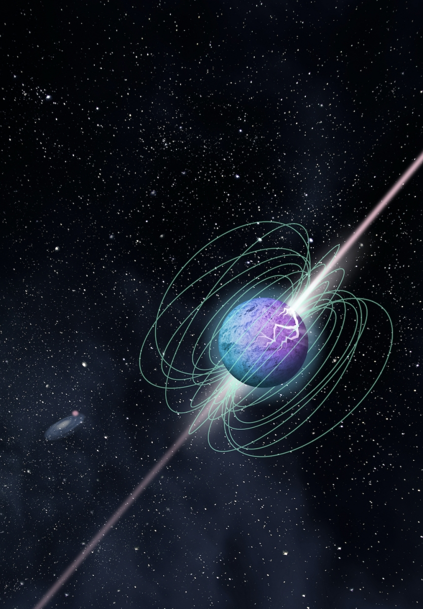 Artist's impression of a magnetar in outburst, showing complex magnetic field structureand beamed emission, here imagined as following a crust cracking episode. Credit: McGill University Graphic Design Team)