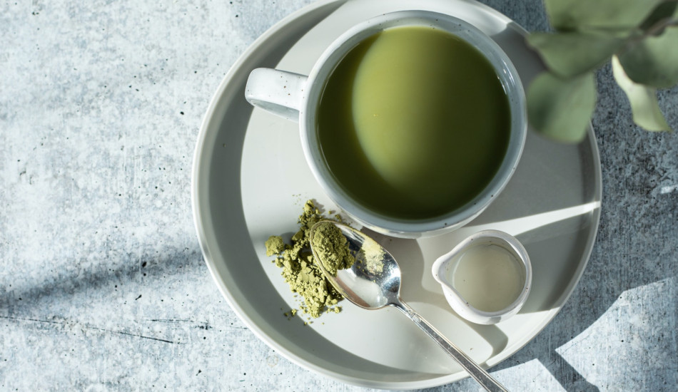 A cup of matcha green tea.