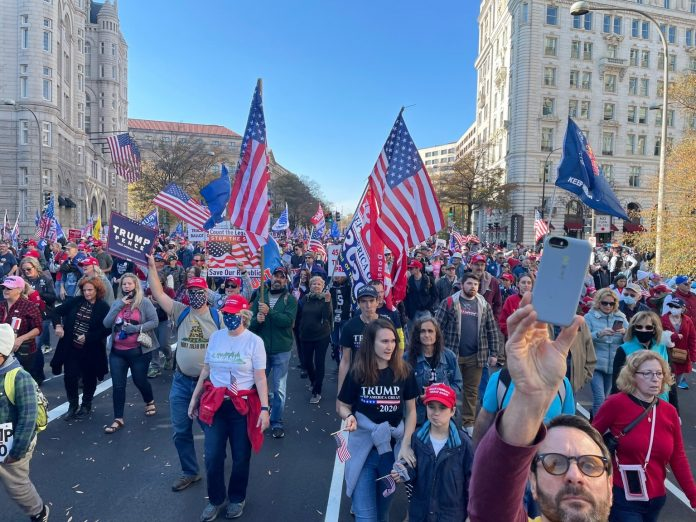trump rally in washington dc on November 4 2020 to support the president and stop the steal and protest election fraud