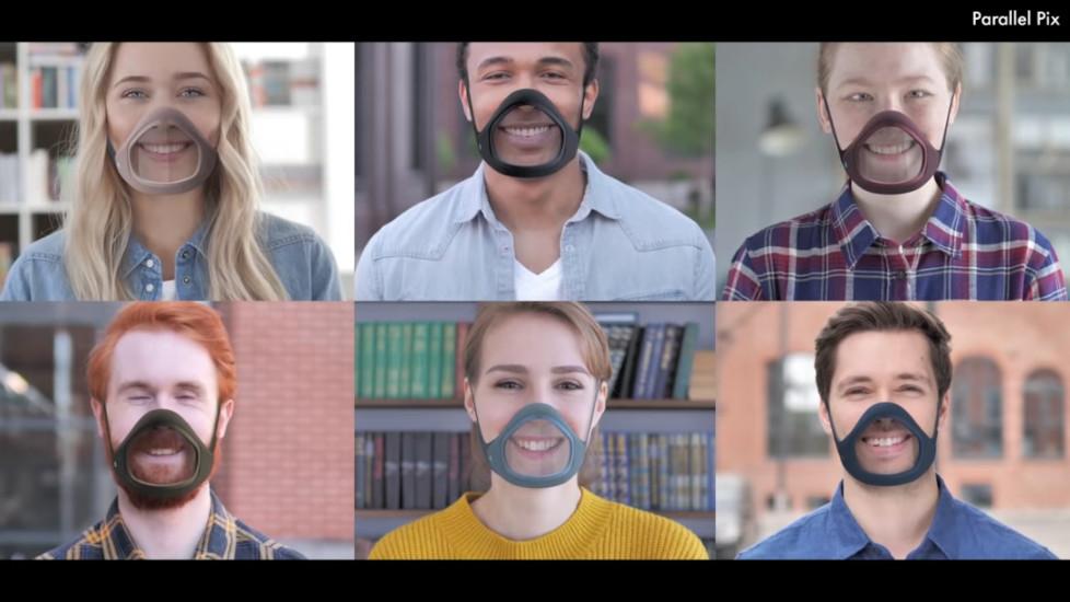 Men and women modeling a transparent face mask.