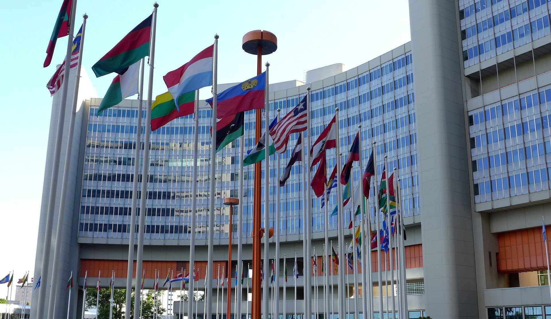 Flags outside the UN building in Vienna.