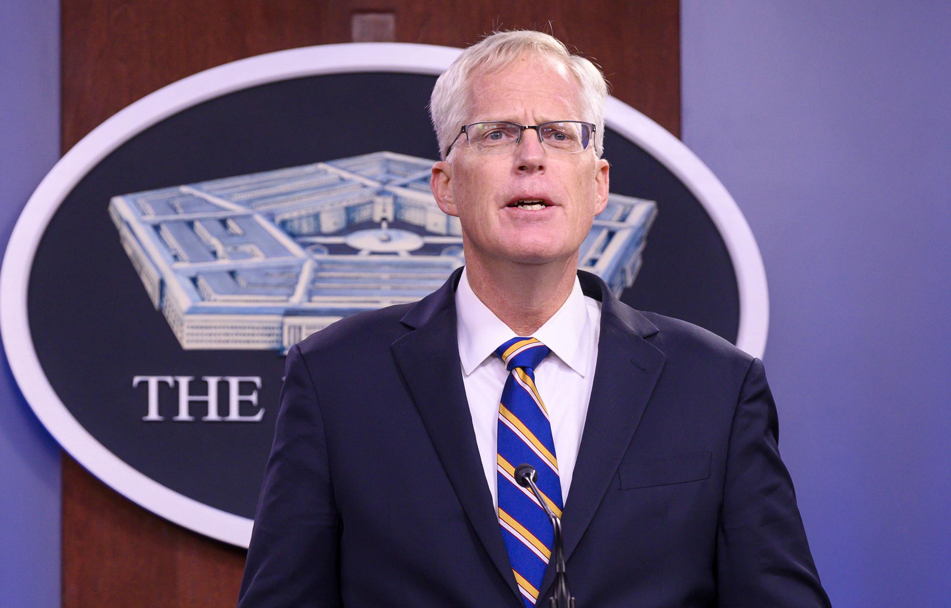 Acting Defense Secretary Christopher Miller addresses media at the Pentagon, Washington