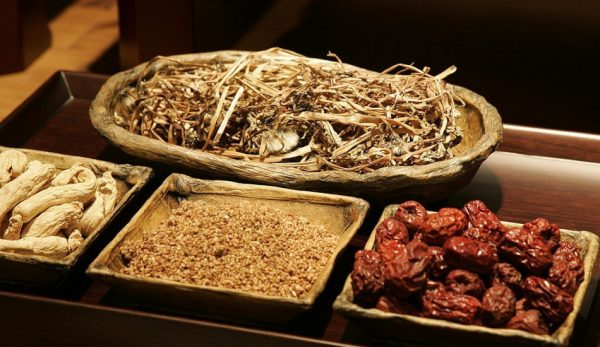 A tray containing ingredients for Chinese medicine