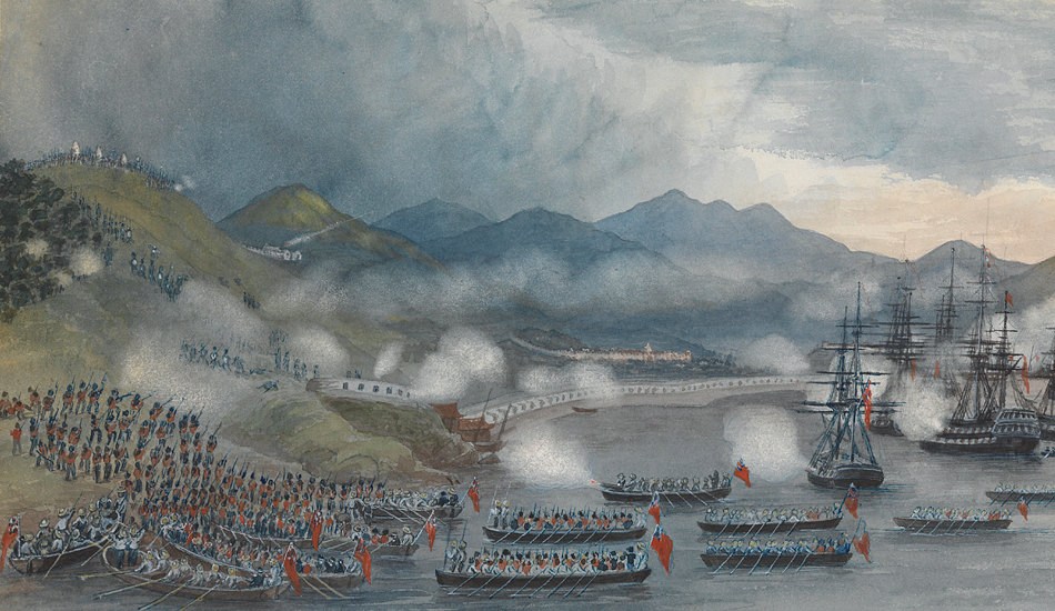 Artwork depicting British troops invading Chusan, China, during the Opium Wars.