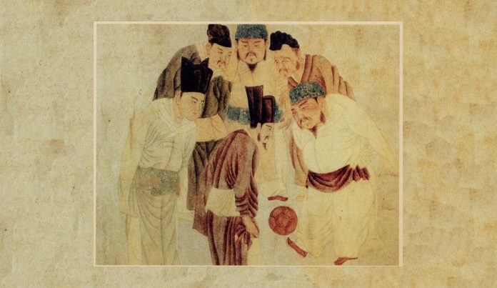 Painting of Chinese Emperor Taizu playing cuju with court officials.