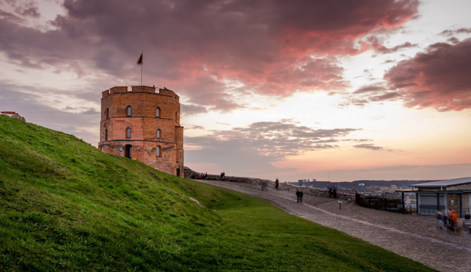 Gediminas Tower overlooking Vilnius, Lithuania.