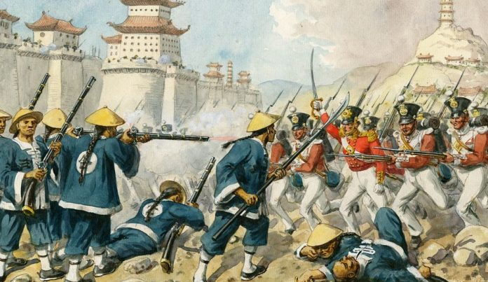 Painting that depicts a battle between Chinese troops and Western soldiers during the First Opium War.