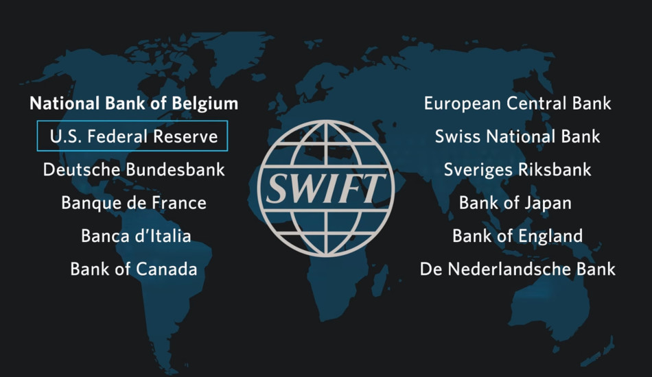 Chart listing central banks that have oversight of SWIFT.