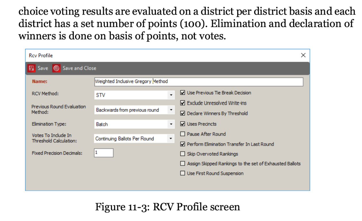 Dominion voting algorithm has a ranked choice voting RCV profile screen to enable weighting ballots