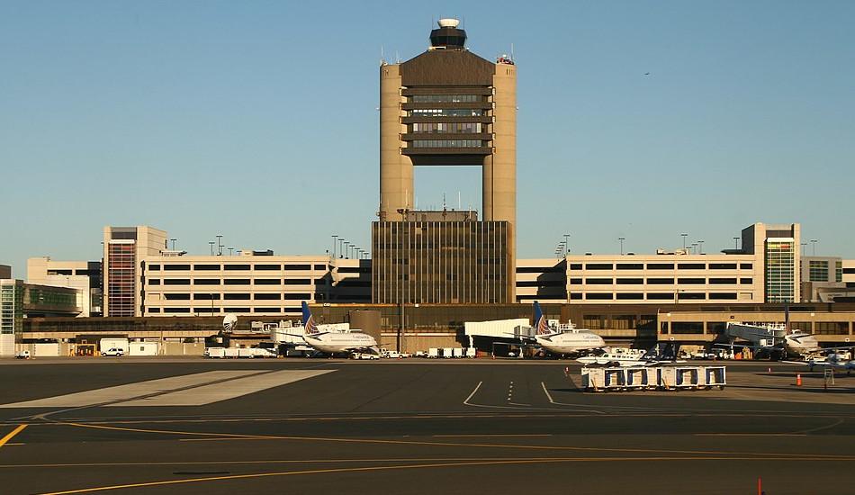 Control tower at Boston Logan International airport.