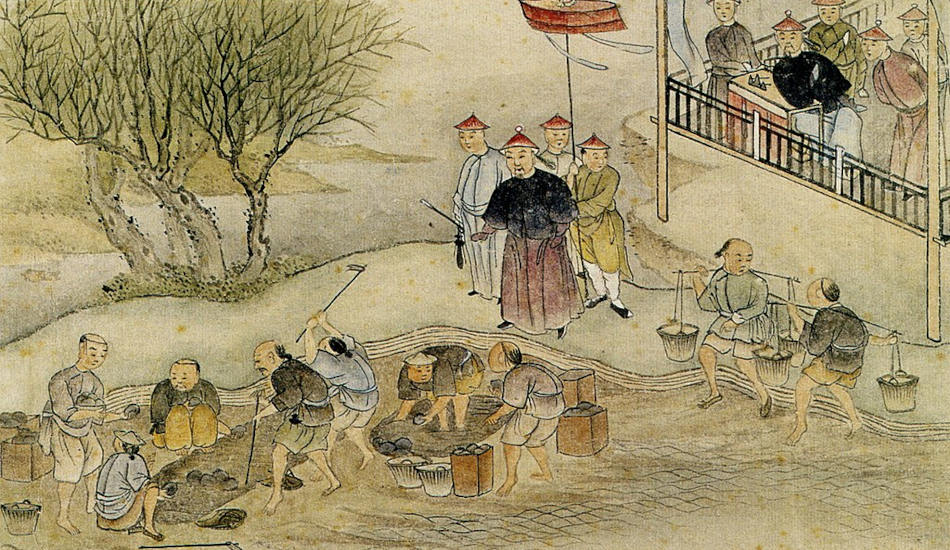 A painting of Lin Zexu overseeing the destruction of opium.