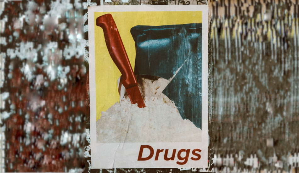 "Poster showing a knife that has cut into a package of white powder labeled as ""Drugs""."