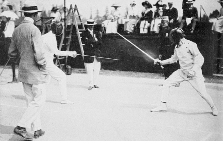 Patton in a fencing match in the 1912 Olympics.