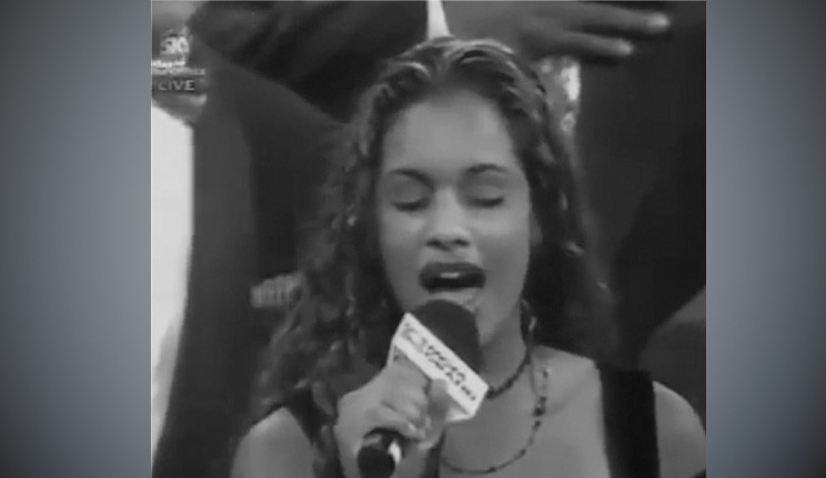 Mika Hale singing the National Anthem at the Mike Tyson and Evander Holyfield fight in 1997.