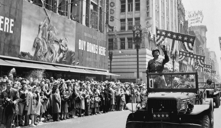 General Patton during a welcome home parade in Los Angeles, June 9, 1945.