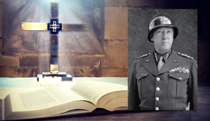 General George S. Patton (foreground) and a Bible (background).