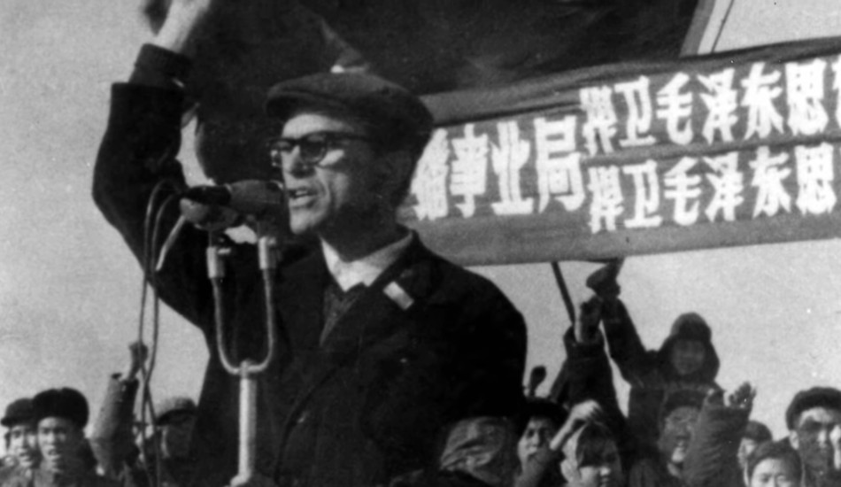 A young Sidney Rittenberg giving a speech in China.