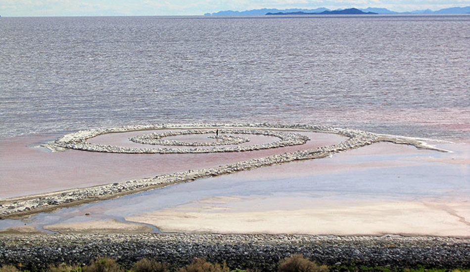 'Spiral Jetty', an earthwork sculpture on the shore of the Great Salt Lake.