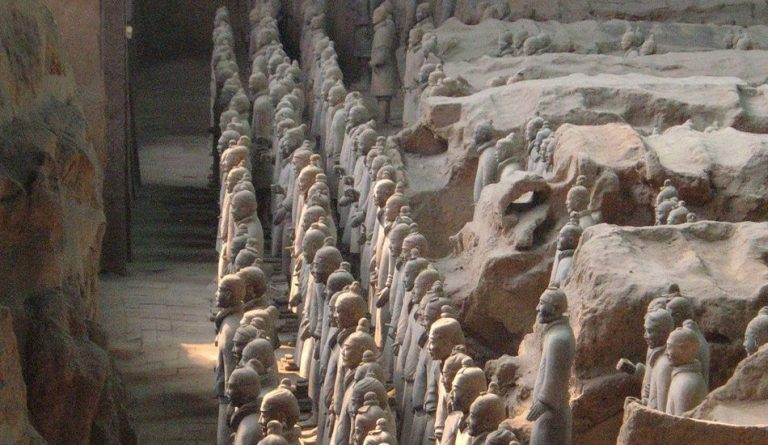 Terracotta army found at the mausoleum of the First Qin Emperor.
