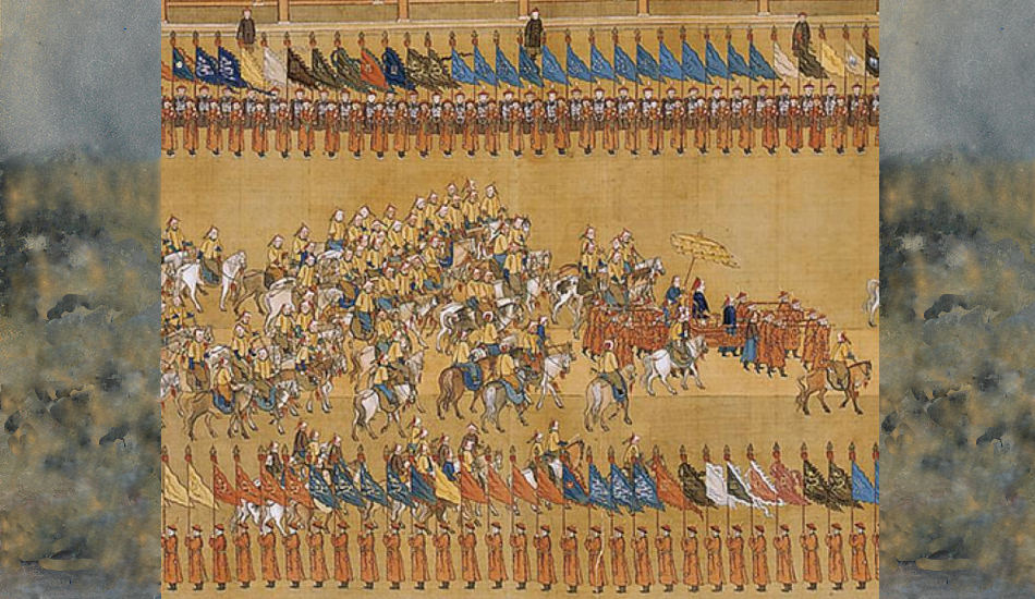 Artwork depicting a procession of Chinese troops accompanying the Qianlong Emperor.