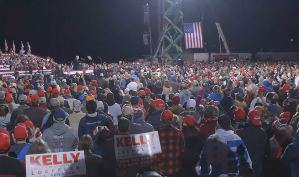 Thousands of people attend a Republican National Congress rally in Valdosta, Georgia, to support candidates Perdue and Loeffler in the 2020-2021 Georgia Senate runoff race. President Donald Trump spoke at the event for an hour and a half. (Image: YouTube/Screenshot)