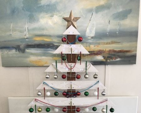 Christmas tree made from recycled wood.