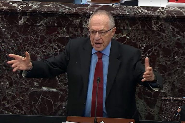 In this screenshot taken from a Senate Television webcast, legal counsel for President Donald Trump, Alan Dershowitz answers a question from a senator during impeachment proceedings in the Senate chamber at the U.S. Capitol on January 29, 2020 in Washington, DC. Senators have 16 hours to submit written questions to the House managers and the President's defense team.