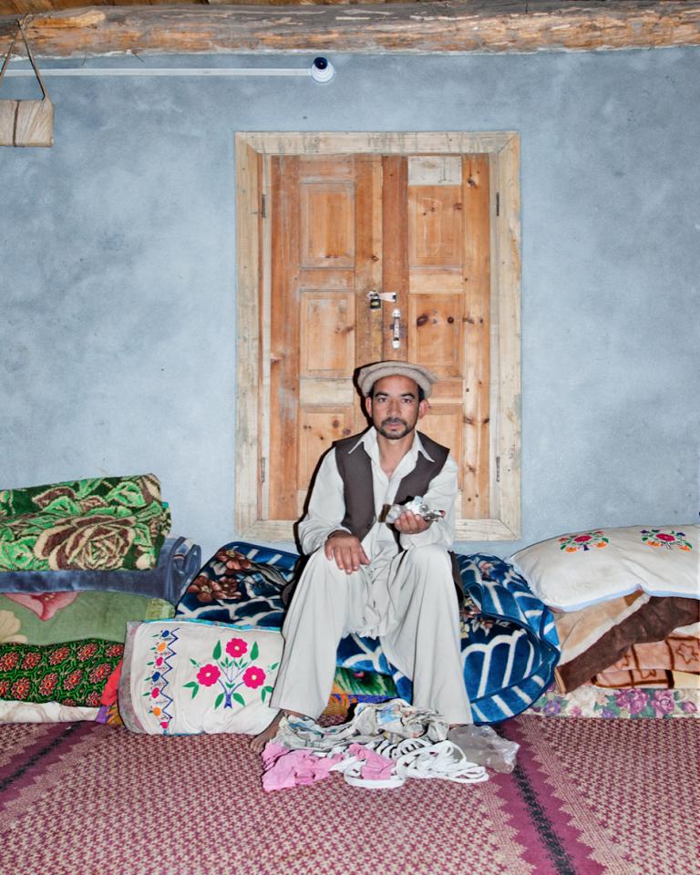 Gemstone dealer Hagi Abbas in his house in Ned, Pakistan.