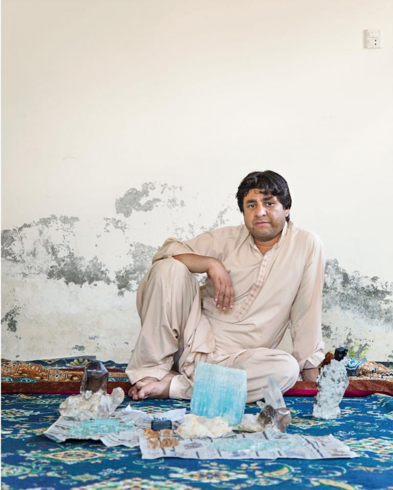 Gemstone dealer Rozi Ali in his home in Skardu, Pakistan.