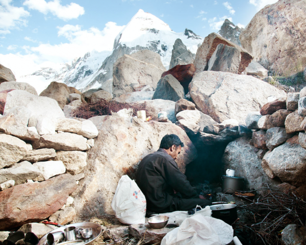 Mohammed Isaac cooking at the  Shackla mine base camp.