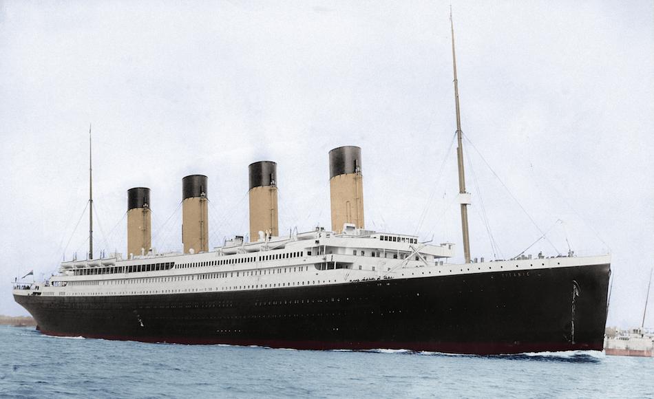 Titanic ship in color.