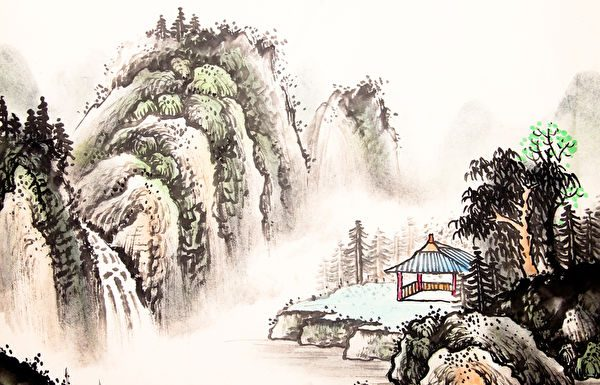 """Su Shi said, """"The survival or demise of the country depends on its morality, not its strength."""" (Image: Public Domain) ancient chinese painting of a hut in the mountains with mist"""