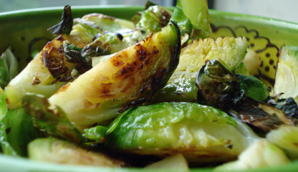 Brussels sprouts cooked with crispy edges.