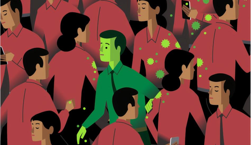 Cartoon of a man passing along the coronavirus through touching others.