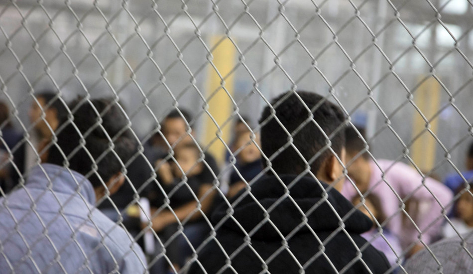 People being held in a detention center.
