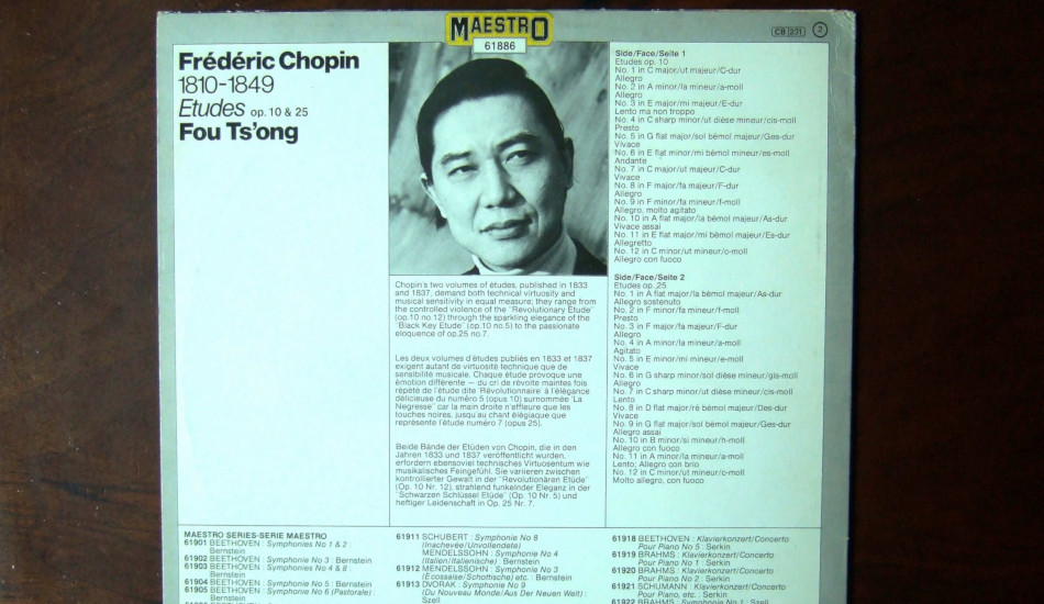 The album cover for Fou Ts'ong's performance of Chopin's Etudes.