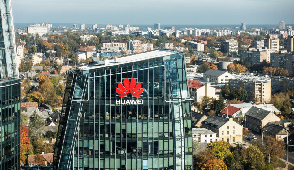 Huawei logo on a building in Vilnius, Lithuania.