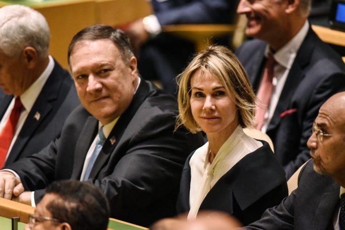 U.S. Secretary of State Mike Pompeo (R) and U.S. Ambassador to the U.N. Kelly Craft attend the United Nations (U.N.) General Assembly on September 24, 2019 in New York City. World leaders are gathered for the 74th session of the UN amid a warning by Secretary-General Antonio Guterres in his address yesterday of the looming risk of a world splitting between the two largest economies - the U.S. and China.