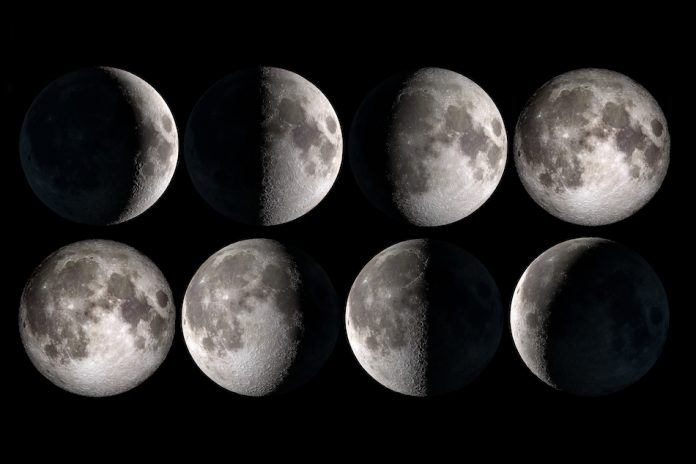 moon phases for 8 days on dark sky